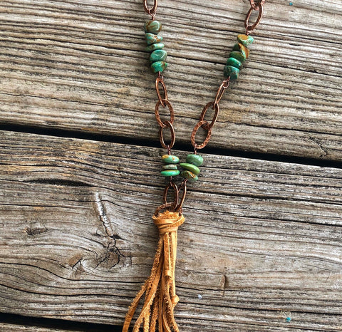 Brantley Turquoise & Leather Copper Chain Necklace
