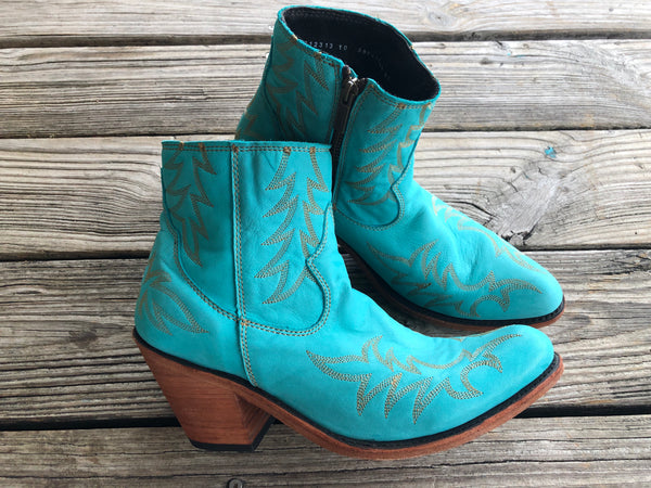 Liberty Black Turquoise Leather Booties ~ Size 10