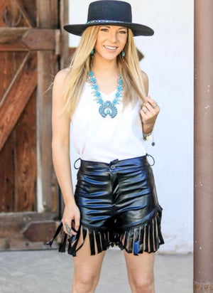 """Ole Sturgis Strut"" faux Black Leather Fringe Shorts"