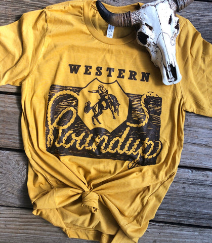 """Ole Western Roundup"" Spicy Mustard Graphic Tee"
