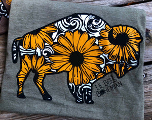 """Ole Buffalo Soldier"" Tooled Leather & Sunflower Buffalo Graphic Tee"