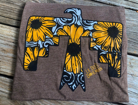 """Ole Desert Eagle"" Tooled Leather & Sunflower Thunderbird Graphic Tee"