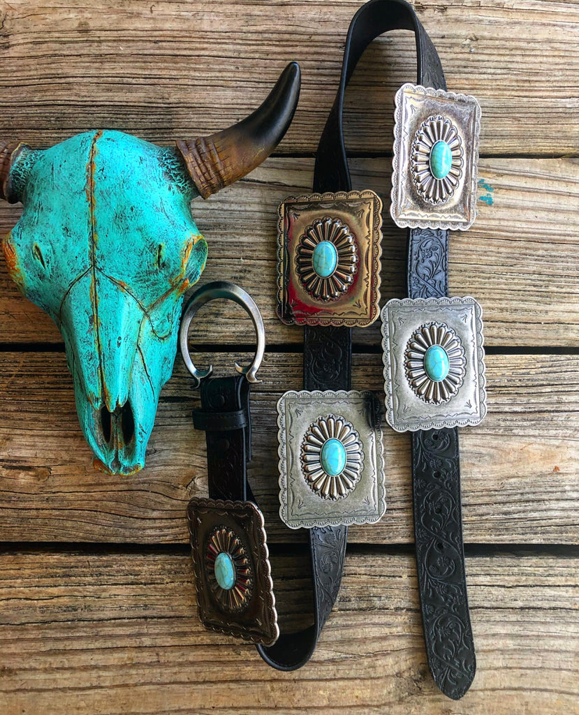 """Ole Nacogdoches"" Tooled Black Leather Turquoise Square Concho Belt"