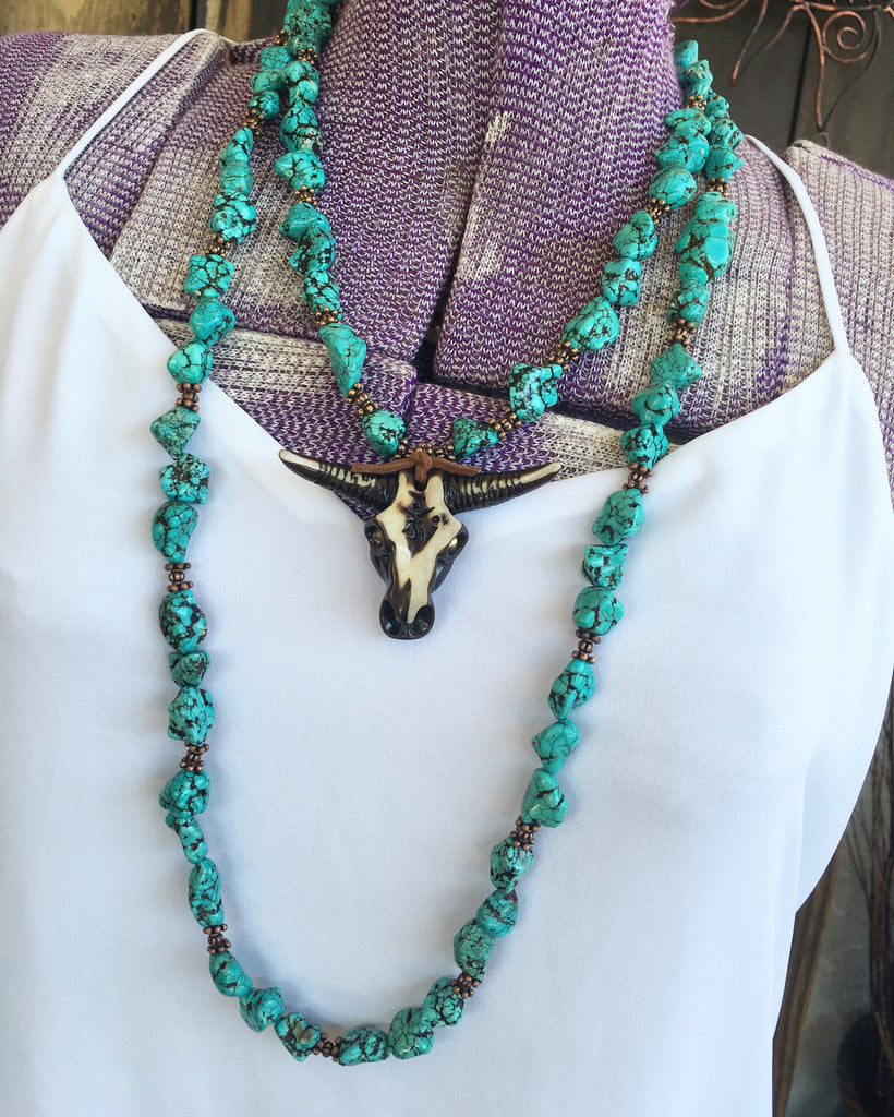 Turquoise Nugget Strand Necklace ~ 32 inch