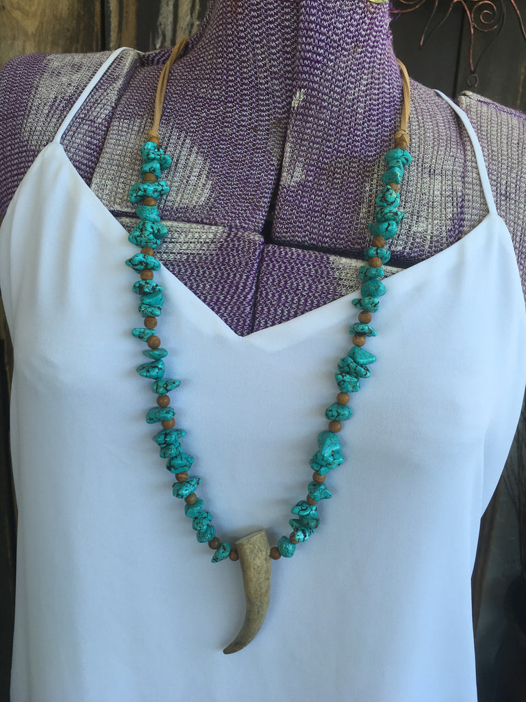 Leather & Turquoise Elk Tip Necklace