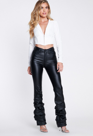"""Ole Flashdance"" Black Leather Scrunch Bottom Flare Pants"