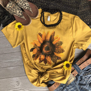 """Ole Spotted Sunflower"" Leopard Sunflower Graphic Tee ~ (made 2 order)"