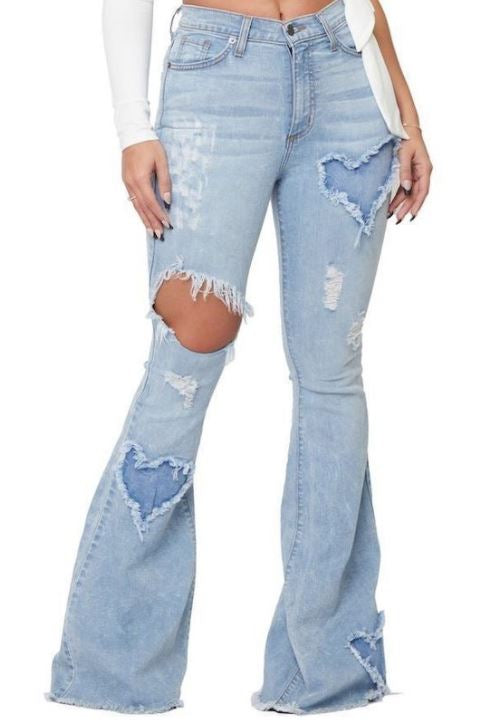 """Ole Hearts On Fire"" Cut Out Heart Patch Light Stone Wash Distressed Denim Flare Jeans"
