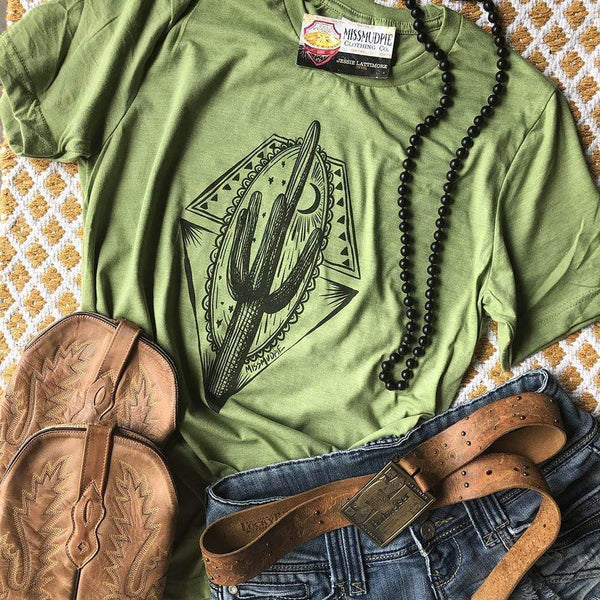"""Ole Midnight Cactus"" Desert Scene Heather Green Graphic Tee"