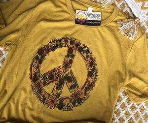"""Ole Hippie Chick"" Floral Peace Sign Graphic Tee (made 2 order)"