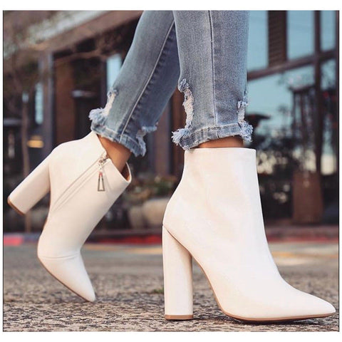 """Ole White on Rice"" White Patent Leather Booties"