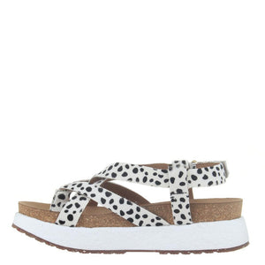 """Ole Springer In Dalmatian"" Hair On Hide Platform Sandals"