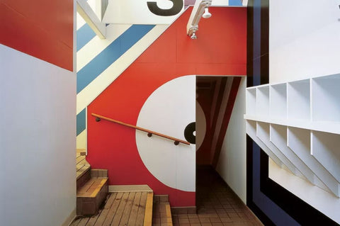 The influential Sea Ranch Tennis Club supergraphics by Barbara Stauffacher Solomon.