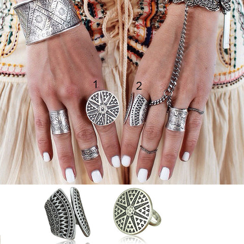 New Bohemia Vintage Unique Design Tibetan Antique Silver Plated Ring Set 2pcs/Set Boho Jewelry Rings