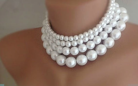 Four Layers White Imitation Pearl Necklace