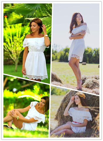 Sweet Lace White Beach Dress