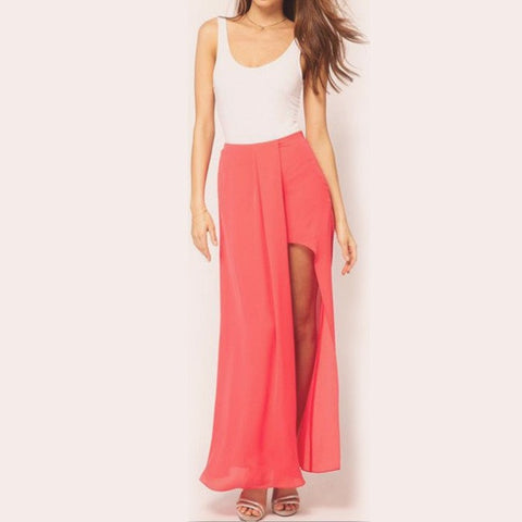 Maxi Skirt Long Fashion Sexy Boho Skirt one Side Split