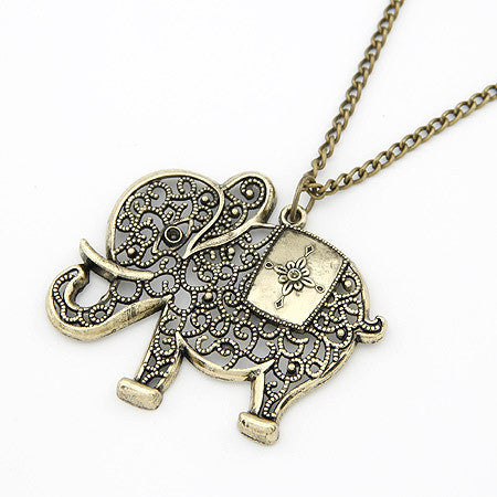 Fashion Cute Vintage Retro Charms Hollow Out Elephant Metal Necklace