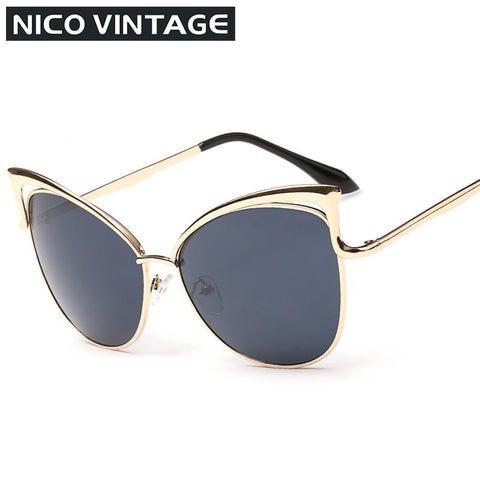 High Quality Cat Eye Female Sunglasses Gold  Metal Gafas de sol Reflective Summer Outdoors Glasses Vintage Sexy Occhiali da sole