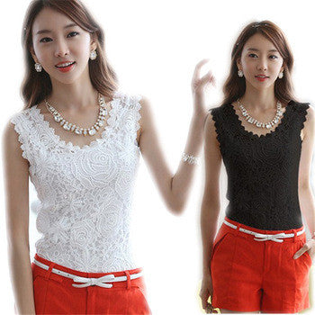 Summer Women Blouse Lace Vintage Sleeveless White Black Crochet Casual Shirts Tops