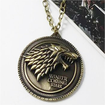"Game of Thrones necklace House Stark Winter Is Coming Bronze 2"" Metal Family Crest Necklace"