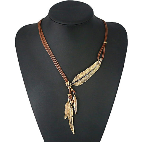 Fashion Bohemian Style Black Rope Chain Feather Pattern Necklace