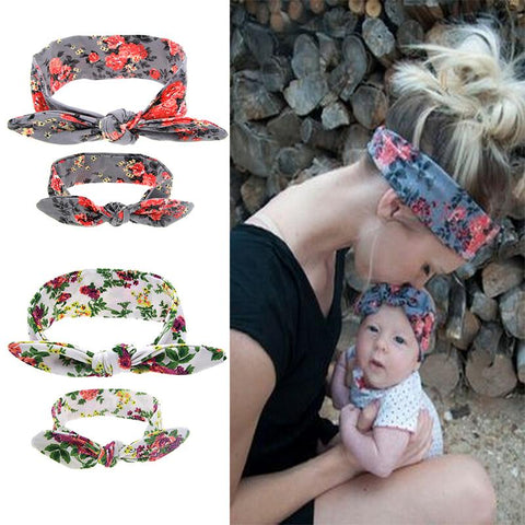 2Pcs/Set Mom and Me Boho Turban Headband