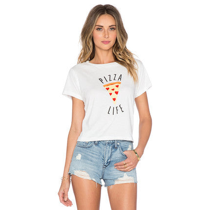 Brand H469 Women Pizza Letters Print T shirt  Cake Crop Tops Short Sleeve Shirts Casual Tops