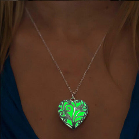 Glow In The Dark Locket Silver Hollow Necklace For Women