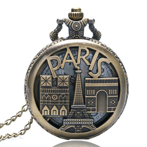 Antique Bronze Paris Quartz Pocket Watch Necklace