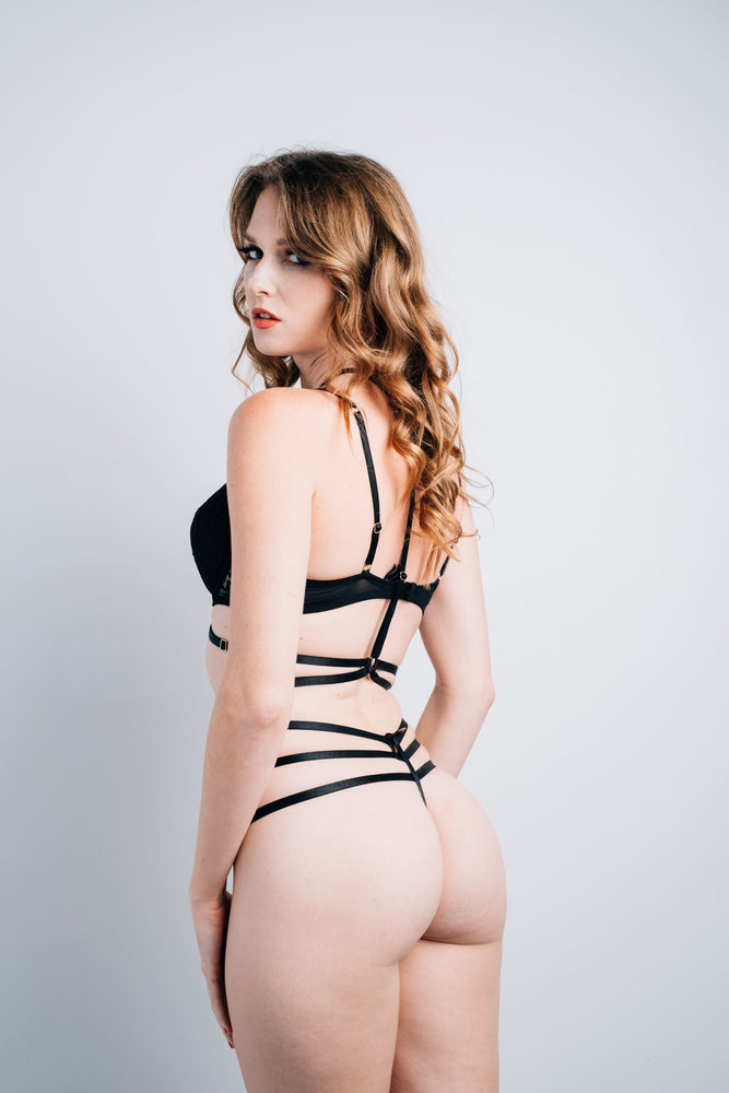 Load image into Gallery viewer, Allegra 3 Piece Black Bondage Lingerie Set
