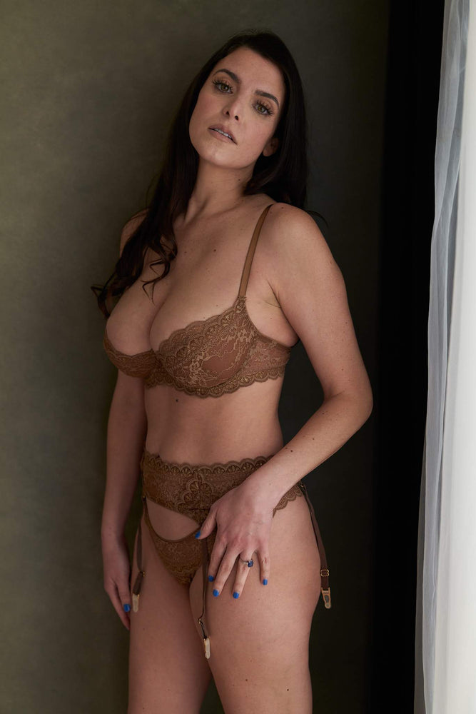 Adriana 3 Piece Brown Lace Lingerie  Set - Colette And Sebastian