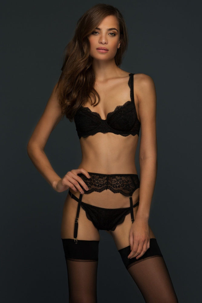 Black Alexandra Suspender Belt