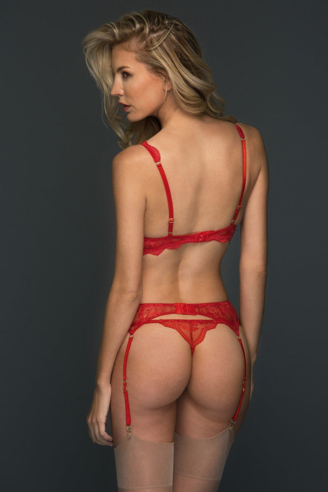 Red Alexandra 3 Piece Lace Set