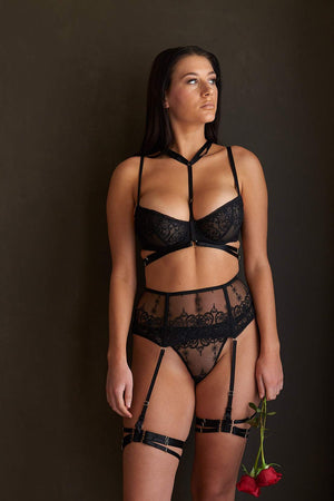 Load image into Gallery viewer, Allegra Black Kinky Bondage Lace Lingerie Set - Colette And Sebastian