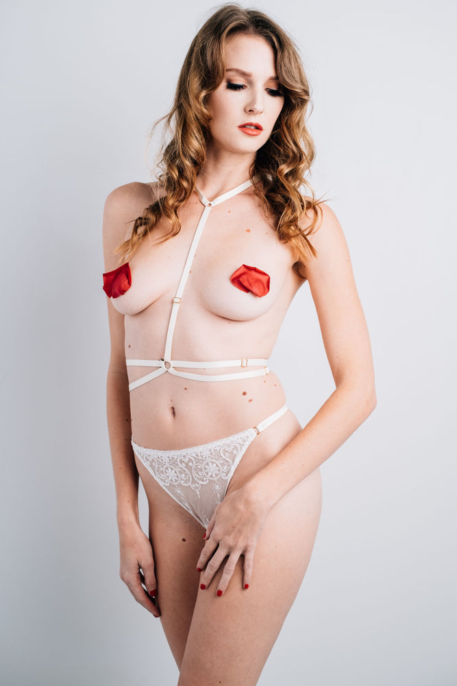 Andri Ivory Bondage Lace Set - Colette And Sebastian