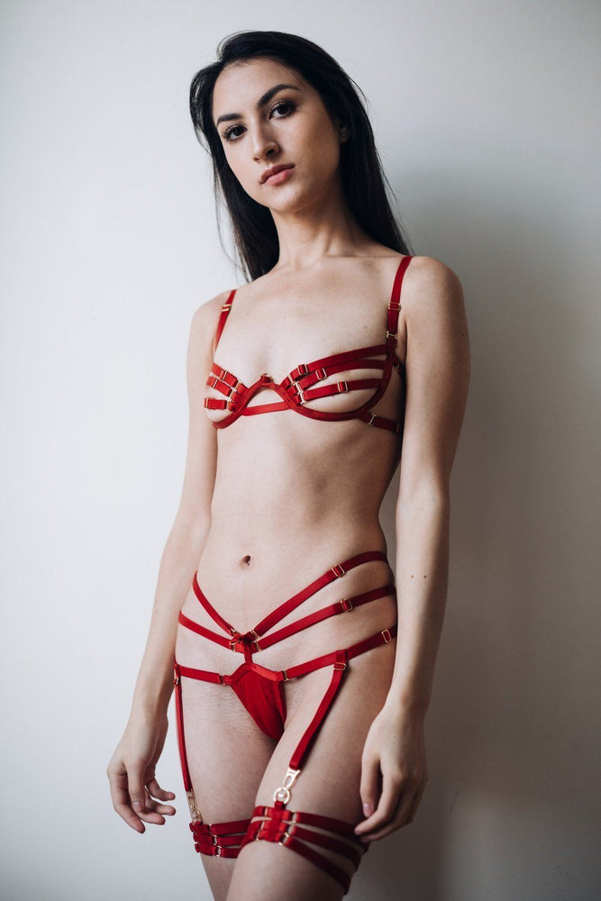 Red Barbara Set with Mimi Bondage Garter