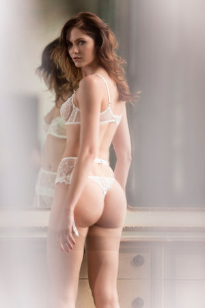 Load image into Gallery viewer, Chantal Sheer Lace Unlined Demi Lingerie Set - Colette And Sebastian