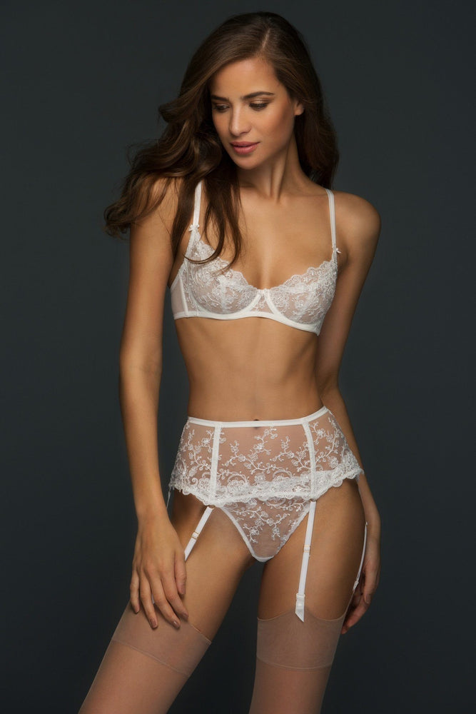 Chantal Sheer Lace Unlined Demi Lingerie Set - Colette And Sebastian