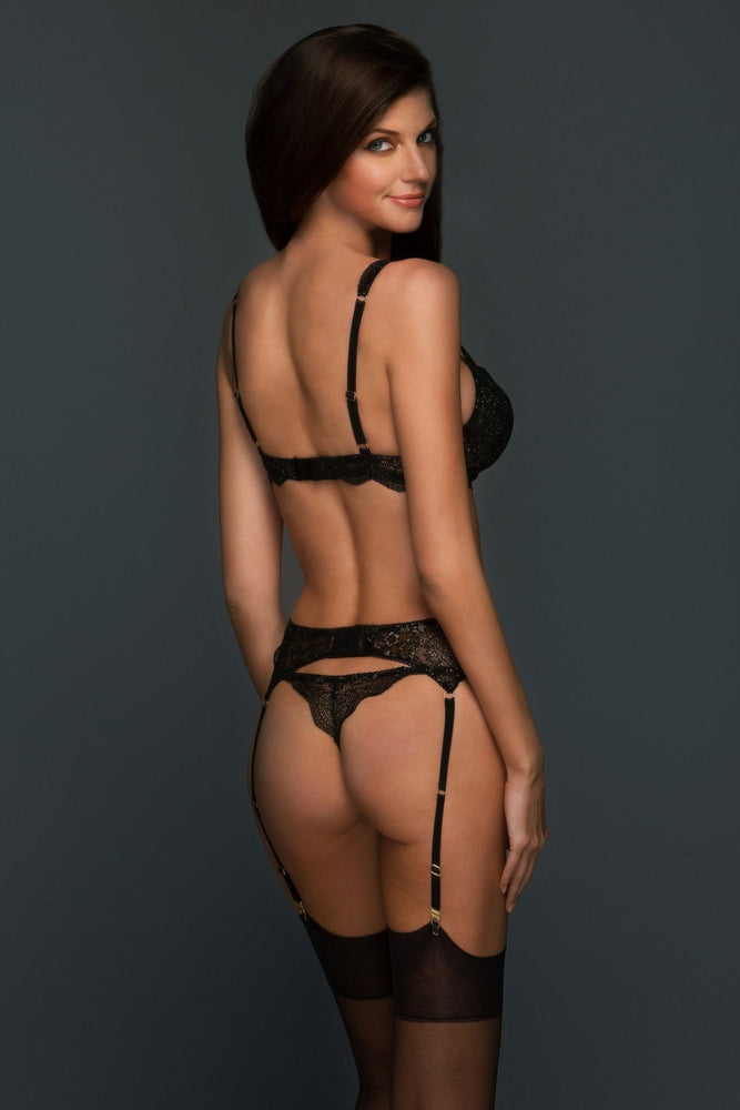 Elise Black and Gold Lace Thong - Colette And Sebastian