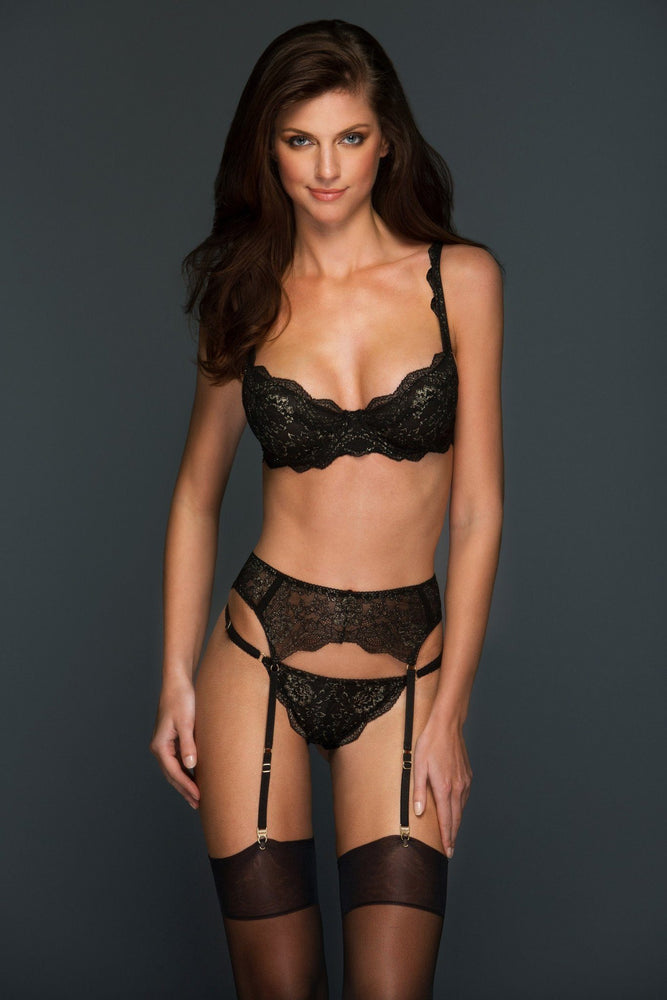 Elise Black and Gold Unlined Lace Underwire Bra - Colette And Sebastian
