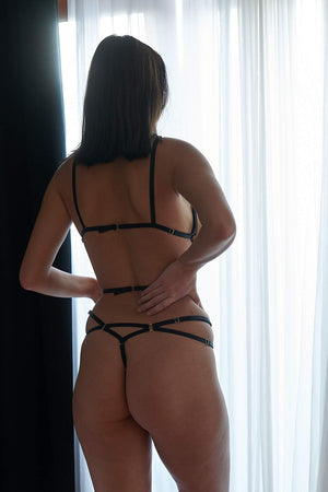 Load image into Gallery viewer, Ella Black Erotic Bondage Crotchless Thong - Colette And Sebastian