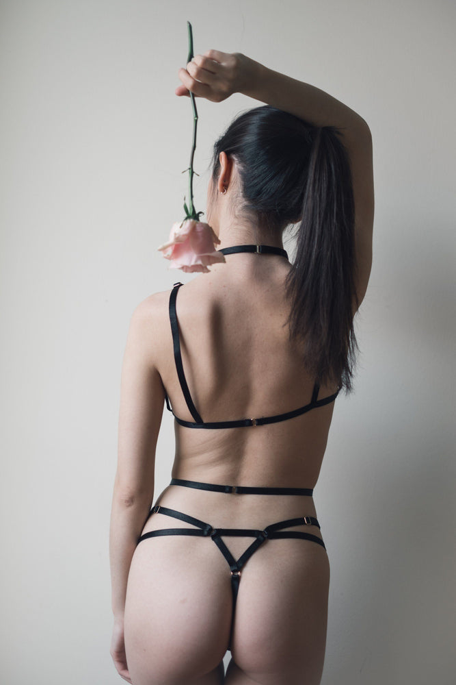 Ella Bondage Crotchless Thong Black - Colette And Sebastian