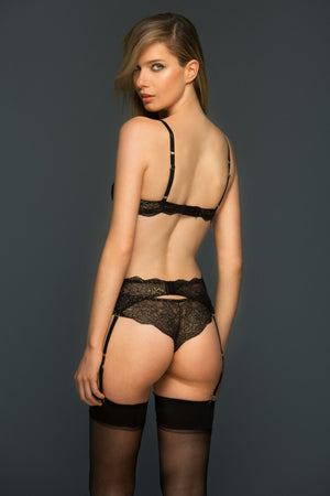 Load image into Gallery viewer, Evelyn Black and Gold 3 Piece Lace Lingerie Set Set Colette & Sebastian
