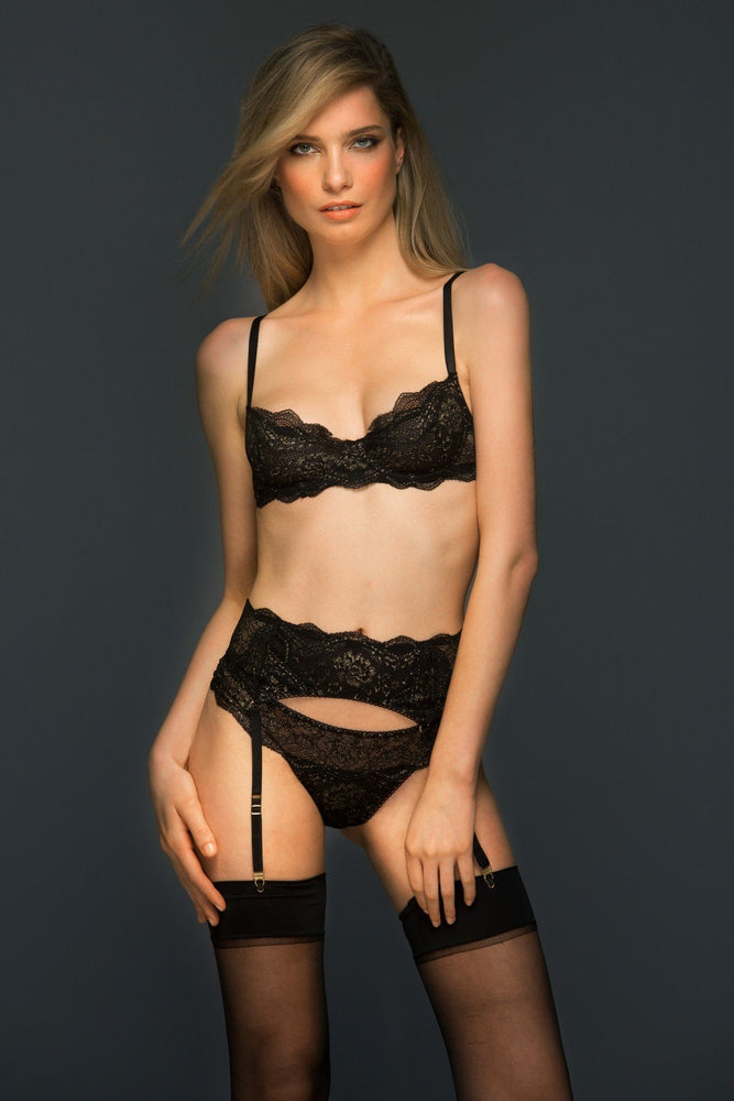 Evelyn Black and Gold Lace Unlined Demi Cup Bra - Colette And Sebastian