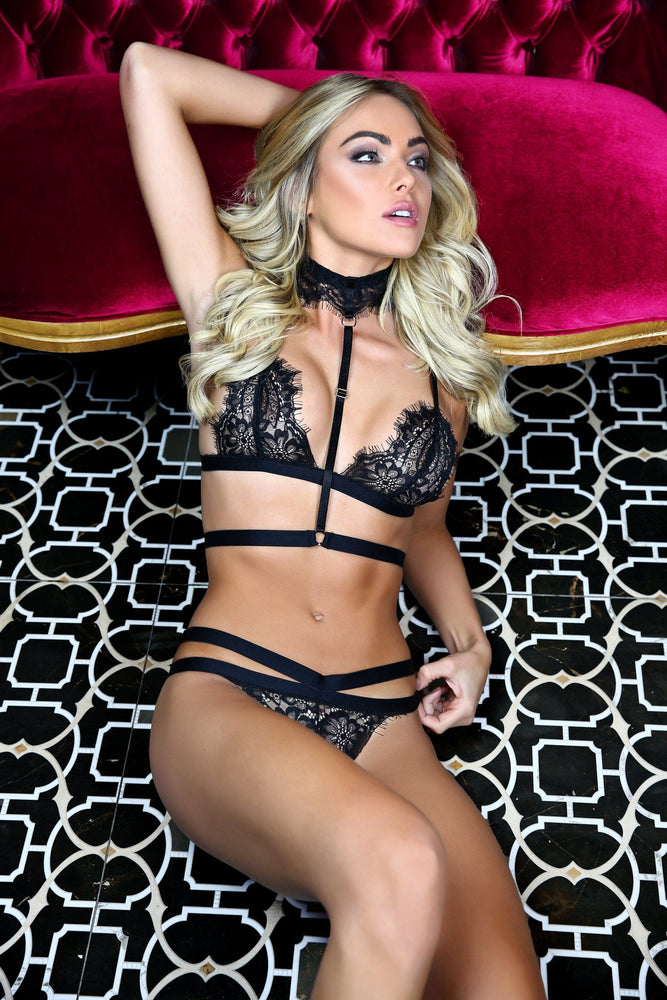 Load image into Gallery viewer, Jules 3 Piece Lace Bondage Lingerie Set - Colette And Sebastian