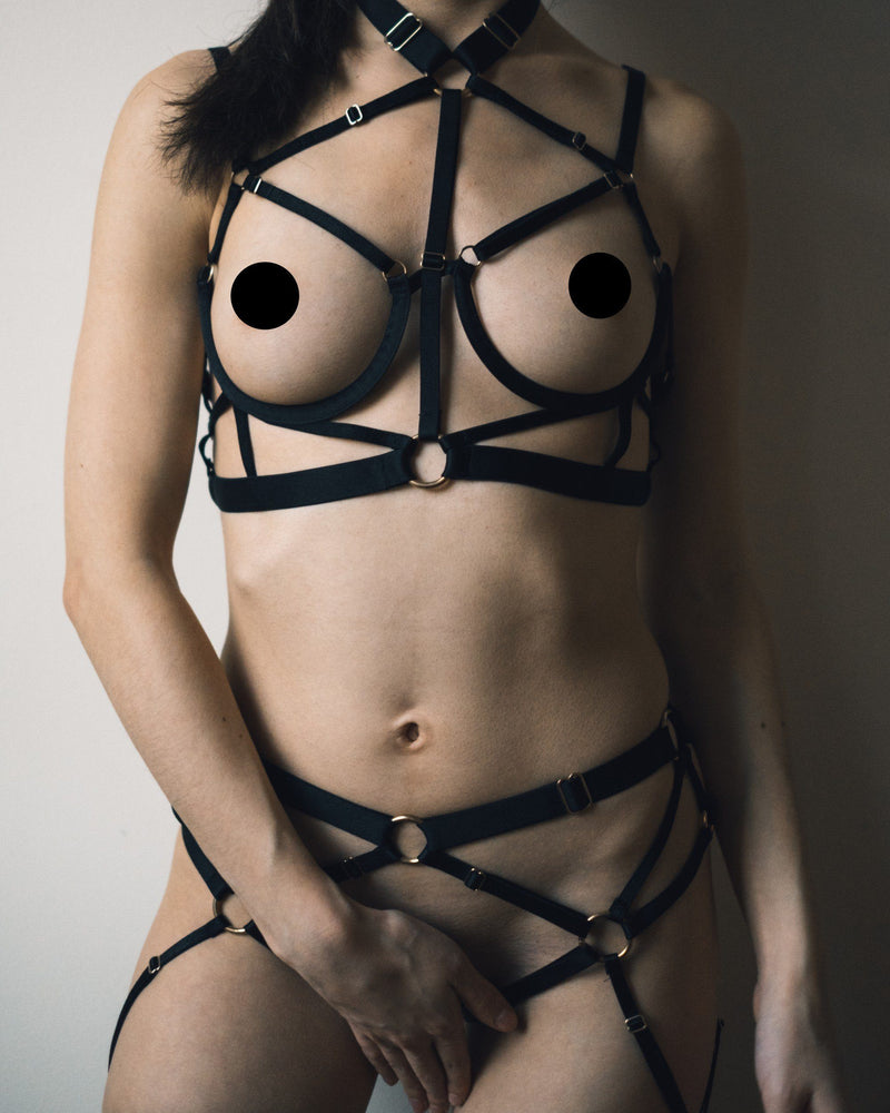 Load image into Gallery viewer, Kiki Strappy Black Bondage Lingerie Set Set Colette & Sebastian S Black S/M