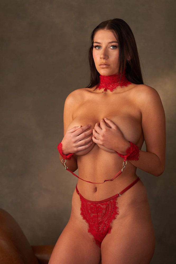 Malia Red 3 Piece Bondage Lace Set - Colette And Sebastian
