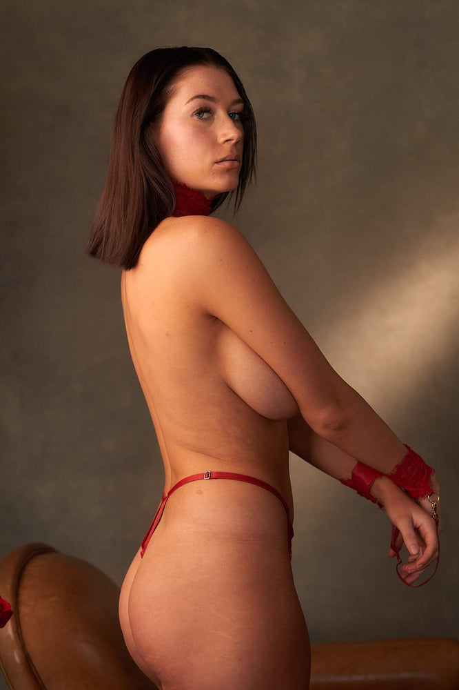 Load image into Gallery viewer, Malia Red 3 Piece Bondage Lace Set - Colette And Sebastian