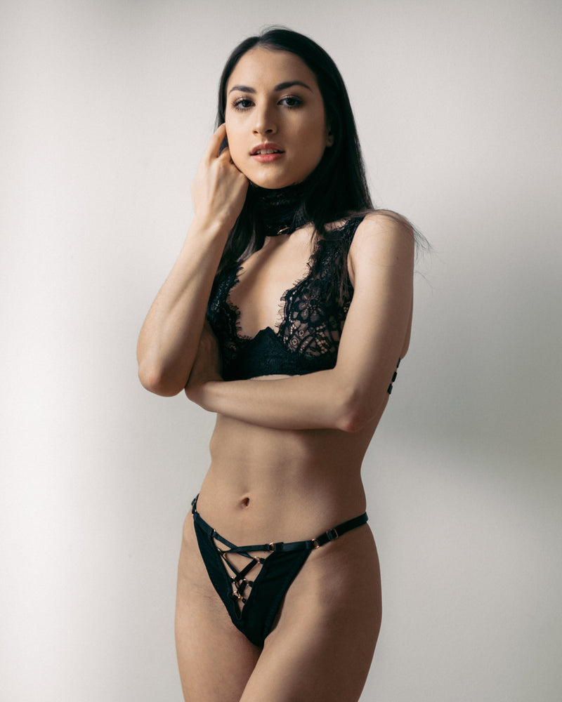 Load image into Gallery viewer, Malia Black 3 Piece Lace Bondage Lingerie Set - Colette And Sebastian